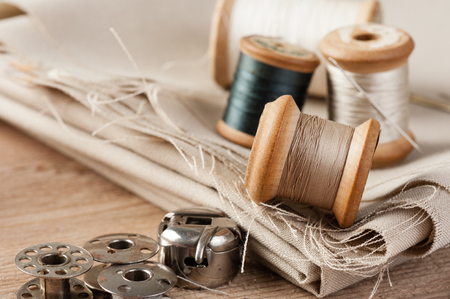 closeup thread for sewing and needlework, old reel of thread