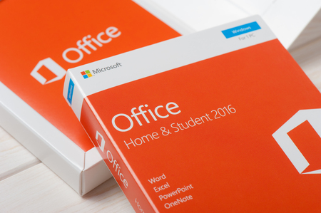 suite: BANGKOK, THAILAND - DECEMBER 20, 2016: The retail box of Microsoft Office Home & Student 2016. Microsoft Office is an office suite of applications developed by Microsoft Corporation. Editorial