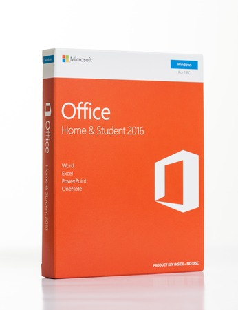 BANGKOK, THAILAND - DECEMBER 20, 2016: The retail box of Microsoft Office Home & Student 2016. Microsoft Office is an office suite of applications developed by Microsoft Corporation. Editorial