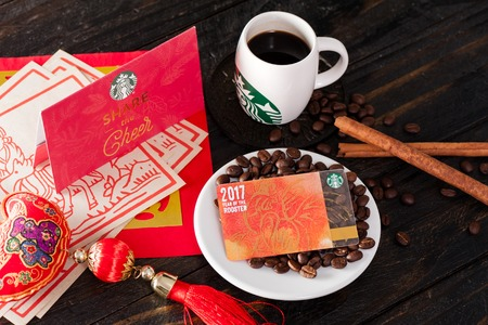 BANGKOK, THAILAND - JANUARY 12, 2017: Starbucks card in Lunar New Year 2017. Editorial