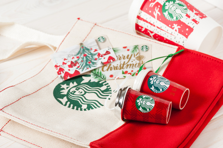 BANGKOK, THAILAND - JANUARY 09, 2017: Starbucks card and souvenirs in Christmas 2016.