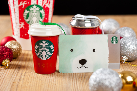 BANGKOK, THAILAND - JANUARY 09, 2017: Starbucks Card and souvenirs in Christmas 2016.