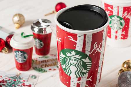 BANGKOK, THAILAND - JANUARY 09, 2017: Starbucks souvenirs in Christmas 2016. Editorial
