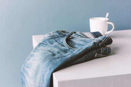 abstract blue jeans with color filtered, modern lifestyle concept Stock Photo