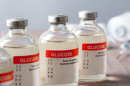 closeup vial of Glucose for Paranteral nutrition and for hypoglycemia. Stock fotó