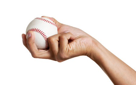 closeup baseball in mans hand, isolated over white background