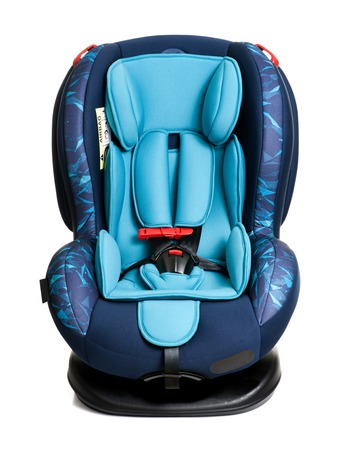 blue child safety seat isolated over white background, seat designed specifically to protect children from injury or death during collisions.