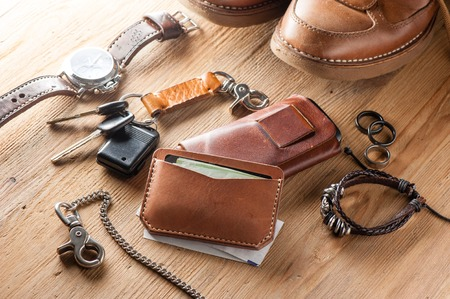 men's leather accessory, closeup at handmade vegetable tanned leather minimalist wallet