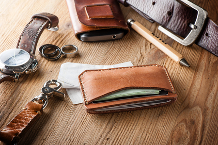 mens leather accessory, closeup at handmade vegetable tanned leather minimalist wallet