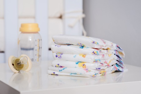 baby disposable diapers, newborn and baby hygiene concept Stock Photo