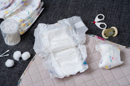baby disposable diapers, newborn and baby hygiene concept 스톡 콘텐츠