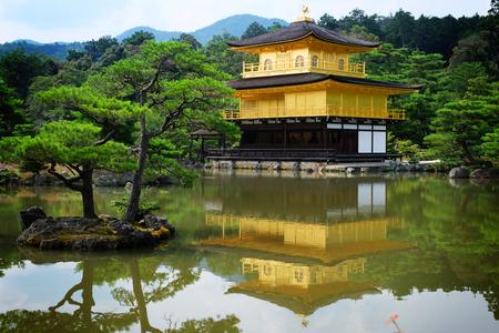 The shariden at Rokuon-ji, commonly known as the Golden Pavilion (Kinkaku-ji). A Zen buddhist temple in Kyoto, Japan.