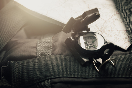 closeup military style of compass for military or camping.