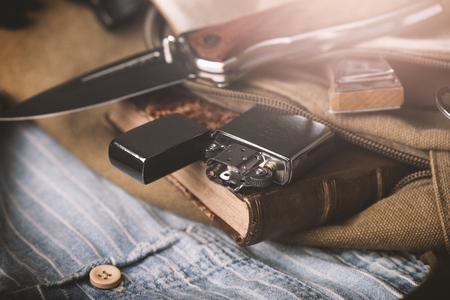 Brushed chrome lighter with windproof. One of everyday carry item for men. Reklamní fotografie