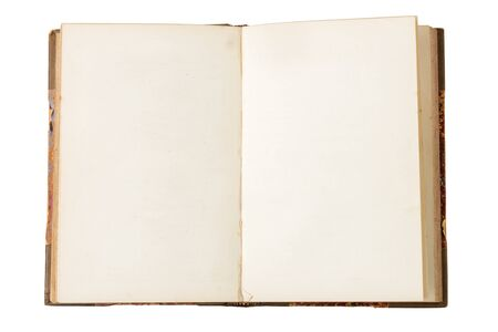 opened antique book with blank page isolated over white background.