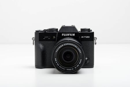 BANGKOK, THAILAND - MAY 24, 2018: The Fujifilm X-T20 attatched with Fujinon XC 16-50 mm lens. The Fujifilm X-T20 announced by Fujifilm on January 19, 2017.