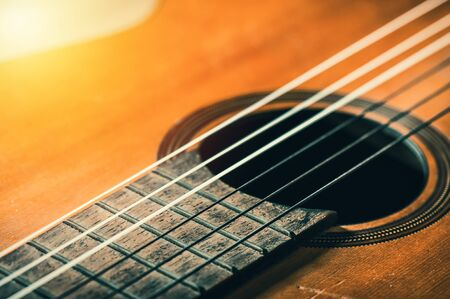 abstract classical guitar. closeup details of the guitar with shallow depth of field. 写真素材