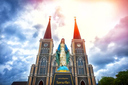 Maephra Patisonti Niramon Church or Cathedral of Immaculate Conception, Catholic Church located in Chanthaburi, Thailand. The Thai words meaning praise to Ave Maria.