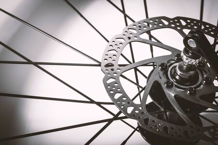 Closeup the disc break system of the moutain bike.
