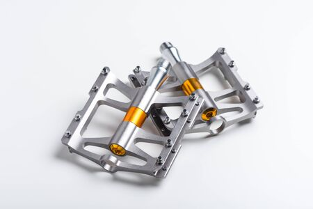 isolate lightweight aluminium bicycle pedal with titanium color. bicycle parts. Stock fotó