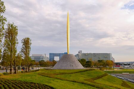 TOKYO, JAPAN - OCTOBER 23, 2018: The Flame Of Freedom sculpture in Odaiba. The Flame of Freedom was donated to Japan from France to commemorate the French Year in Japan in 1998-1999.