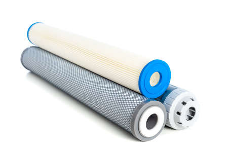 Cartridge for water purifier system isolated over white background. Home water purifier system.