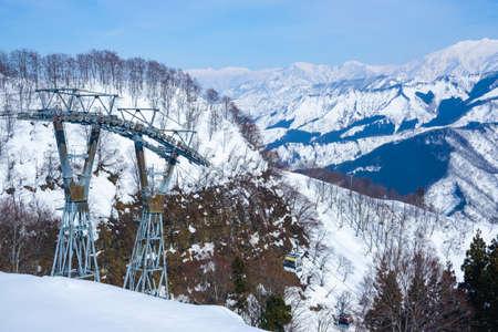 NIIGATA, JAPAN - FEBRUARY 22, 2019: Cable car serve for Gala Yuzawa station to Gala Yuzawa Ski Resort. 新聞圖片