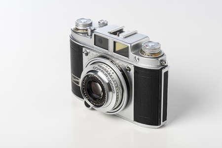 BANGKOK, THAILAND - MARCH 11, 2019: An old rangefinder 35mm film camera Balda Baldina. The Baldina were a series of cameras manufactured in Germany by Balda Werke.