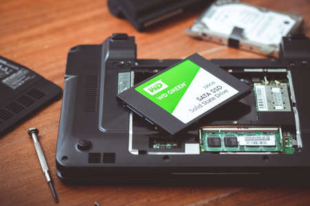BANGKOK, THAILAND - APRIL 05, 2019: The Western Digital WD Green 120GB Solid State Drive. Western Digital is one of the larger computer hard disk drive manufacturers.