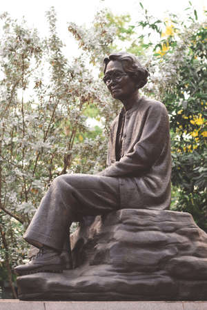 ROI-ET, THAILAND - APRIL 17, 2019: A Statue of H.R.H. Princess Srinagarindra at Bung Phalanchai Park in Roi-Et, Thailand.