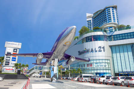 CHONBURI, THAILAND - MAY 01, 2019: The modern shopping mall Terminal 21 Pattaya with concept THE WHOLE WORLD IS HERE.