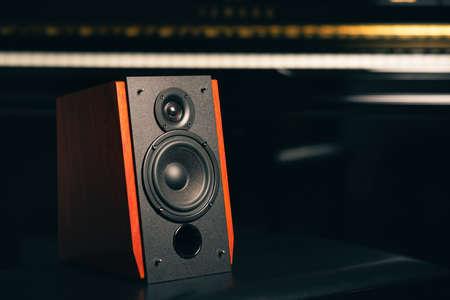 Bookshelf speaker system for home entertainment. 免版税图像 - 166680304