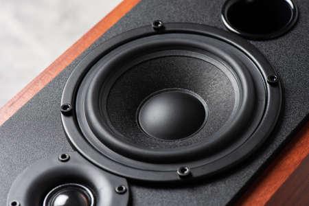 Bookshelf speaker system for home entertainment. Banque d'images