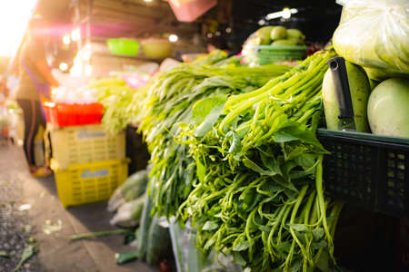 Fresh vegetables in the local fresh market in Thailand.