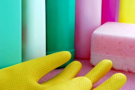 cleaning supplies: multi colour cleaning supplies and rubber glove