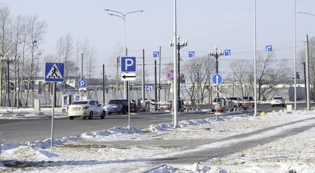 The queue of cars at the parking lot of the Khabarovsk airport