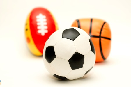 a ball of soccer in front of basketball and rugby Stock Photo - 7822370