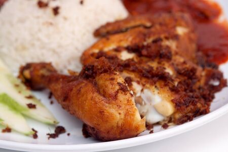 fried chicken with nasi lemak photo
