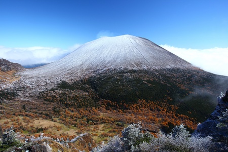 snow capped  mount asama in japan photo