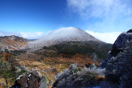 Snow capped Mt.ASAMA in japan Stock Photo - 9881572