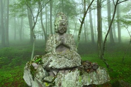 stone statue in the mist photo