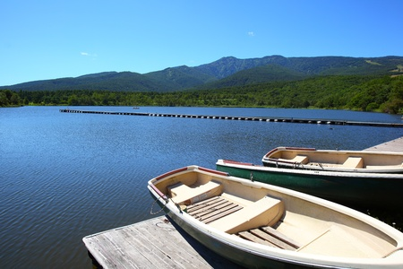 bracing: Blue sky and lake in the mountain Stock Photo