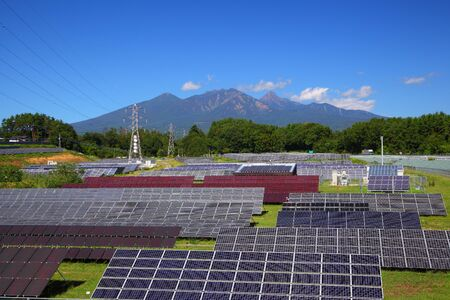 Photovoltaic power plant and mountain in japan