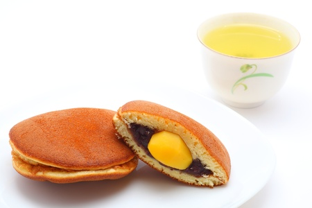 Dorayaki in bean paste and chestnut, Japanese confectionery, japanese tea photo