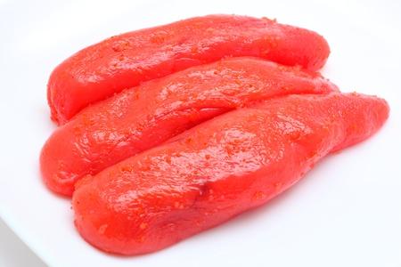comida japonesa: Tarako marinado en salsa de pimiento picante, la comida japonesa