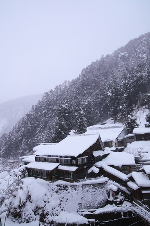 Yudanaka hot spring resort in snow, Jigokudani, Nagano, Japan,  photo