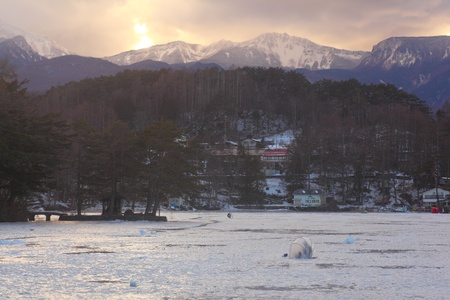 pond smelt: Ice lake fishing. Smelt fishing. Lake matsubara. Nagano. Japan