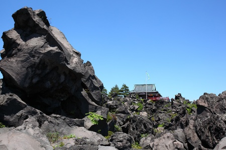 Lava and temple, Lava of Mt.Asama in japan Stock Photo - 12414281