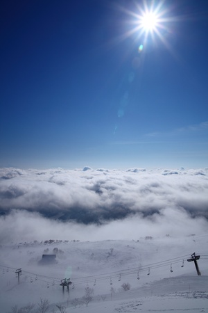Sea of clouds and sun, Nagano Japan, Hakuba Goryu ski resort  photo