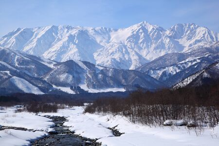 Mt  Shiroumadake, Hakuba village in winter, nagano japan   photo